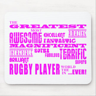 Girls Hockey : Pink Greatest Rugby Player Mouse Mat