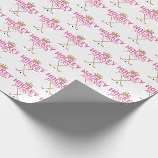 Girls Hockey Princess Baby Pink Wrapping Paper