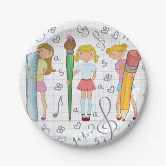 Girls Holding School Supplies Paper Plates