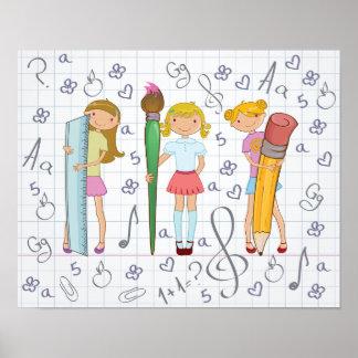 Girls Holding School Supplies Poster