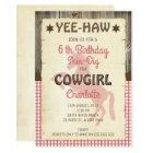 Girls Horse Wild West Birthday Party Invitation