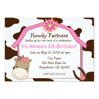 Girls Horse with Barn Birthday Invitation