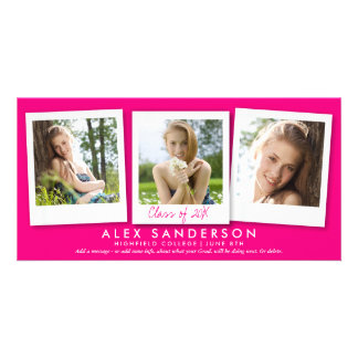 Girls Hot Pink Multi Photo Graduation Announcement Custom Photo Card