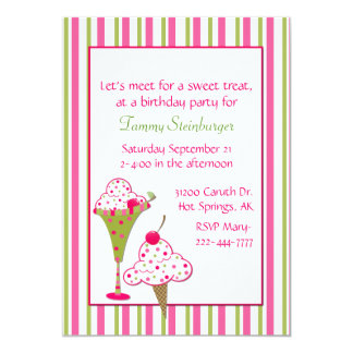 Girl's Ice Cream Birthday Party Invitation