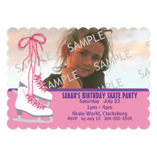 "Girl's Ice Skating Party 5"" X 7"" Invitation Card"