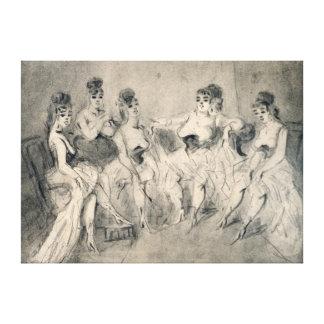 Girls in a Bordello Canvas Print