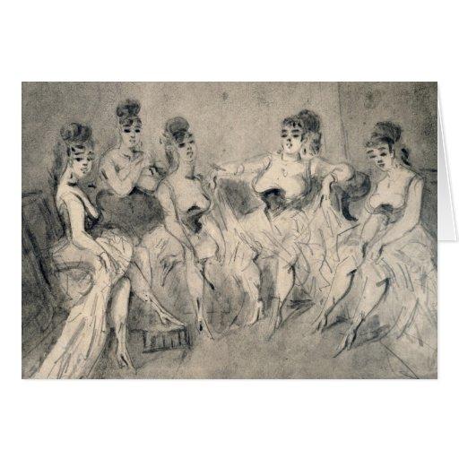 Girls in a Bordello Greeting Card