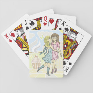 Girls in Pastel Playing Cards
