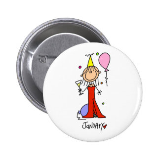 Girl's January Birthday 6 Cm Round Badge