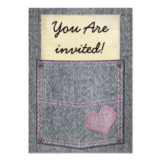 Girls Jeans Pocket Party Invitations