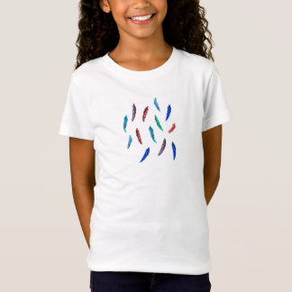 Girls' jersey T-shirt with feathers