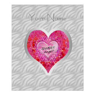 "Girl's Jeweled ""Sweet Angel? Heart"" Poster"