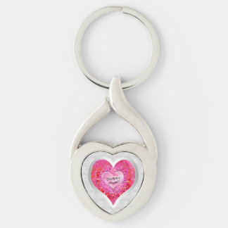 "Girl's Jeweled ""Sweet Angel? Heart"" Silver-Colored Twisted Heart Key Ring"
