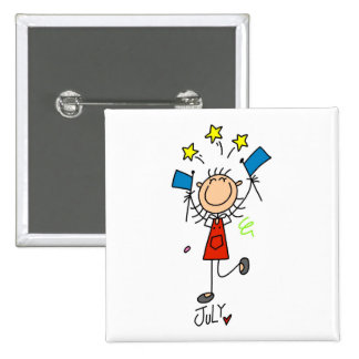 Girl's July Birthday 15 Cm Square Badge