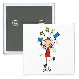 Girl's July Birthday Pinback Button