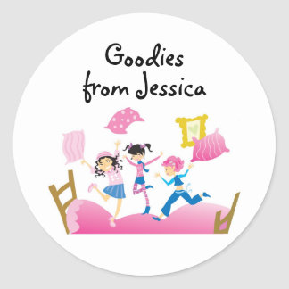 Girls Jumping on Bed Label Round Sticker