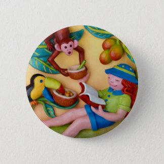 Girl's Jungle Safari Birthday 6 Cm Round Badge