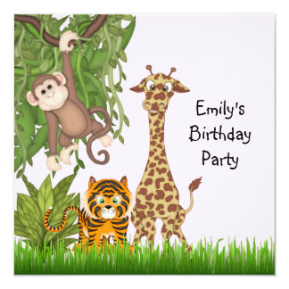Girls Jungle Safari Birthday Party Custom Announcement Cards