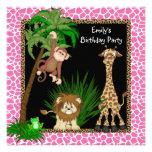 Girls Jungle Safari Birthday Party Custom Invitation