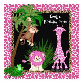 Girls Jungle Safari Birthday Party Invitations