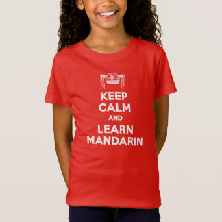 Girls Keep Calm and Learn Mandarin Red T-shirt