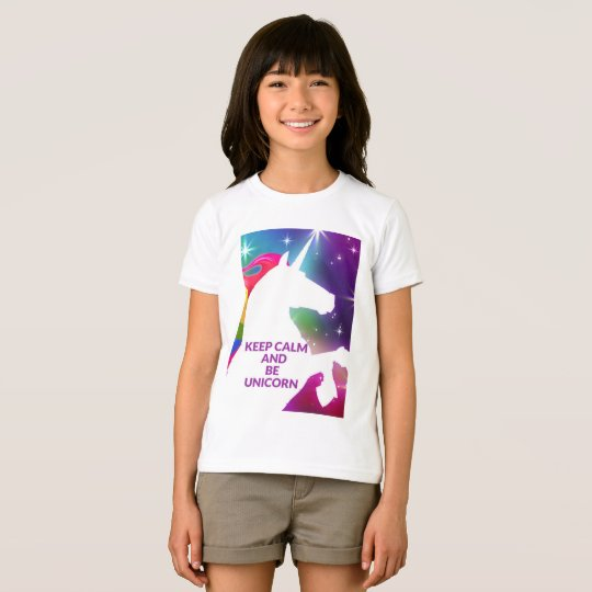 Girls Keep calm and unicorn t shirt