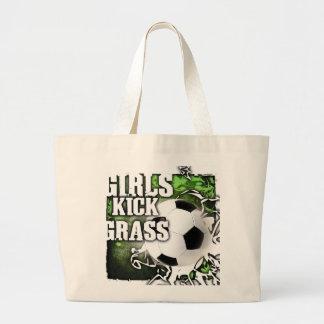 Girls Kick Grass Large Tote Bag