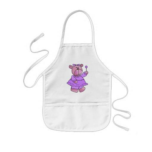Girls Kid's Purple Lollipop Bear Aprons