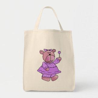 Girls Kid's Purple Lollipop Bear Tote Bags