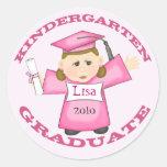 Girl's Kindergarten Graduation Round Stickers