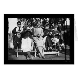 Girls Knitting in Albania 1923 Greeting Card