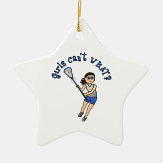 Girls Lacrosse Blue Christmas Ornament