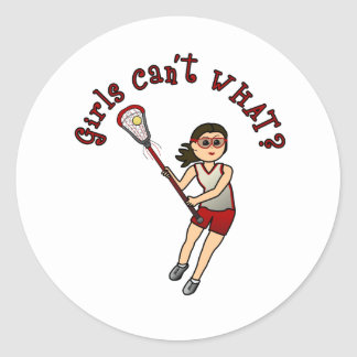 Girls Lacrosse Red Classic Round Sticker