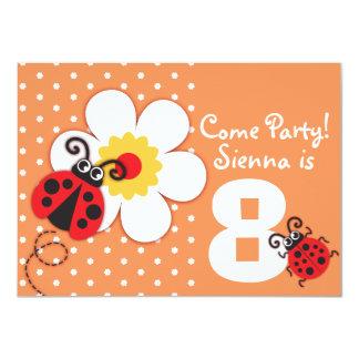 Girls ladybug party purple invitation