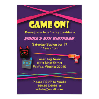 Girl's Laser Tag Birthday Party Card