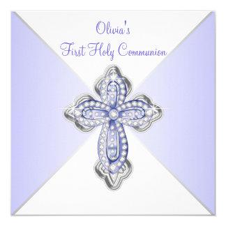 Girls Lavender Purple First Communion 13 Cm X 13 Cm Square Invitation Card