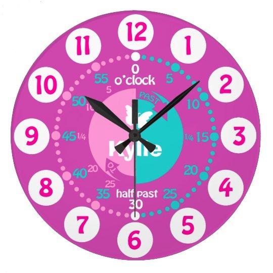 Girls learn to tell time pink aqua name clock