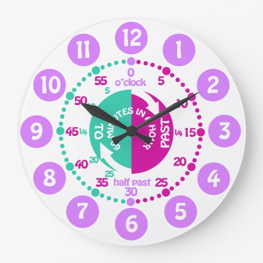 Girls learn to tell time purple mint wall