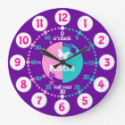 Girls learn to tell time purple name clock