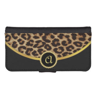 Girls Leopard Print with Monogram iPhone5 Phone Wallet Case