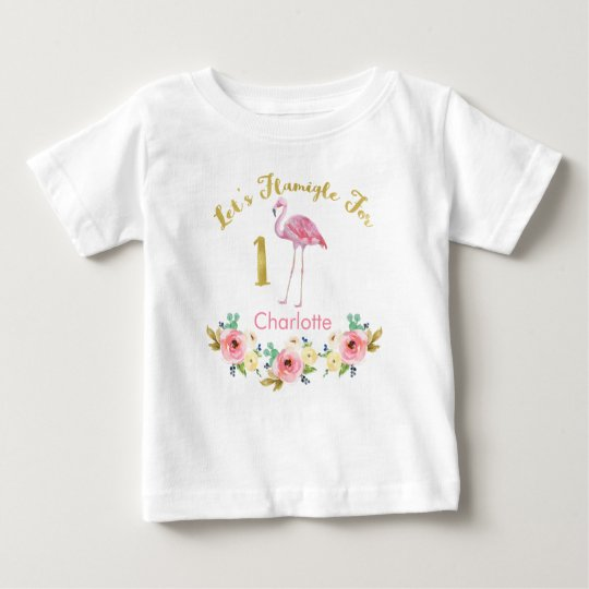 Girls Lets Flamingle 1st Birthday Shirt