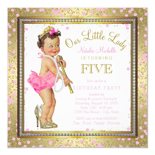 Girls Little Lady 5th Birthday Party Pink Gold