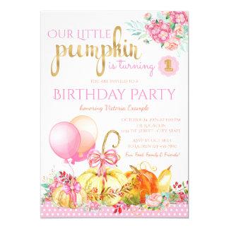 Girls Little Pumpkin First Birthday Invitations
