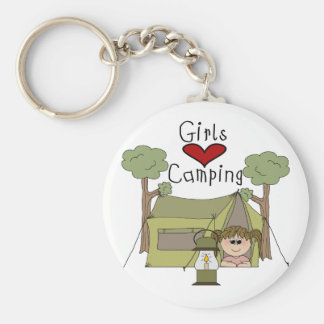 Girls Love Camping Basic Round Button Key Ring