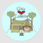 Girls Love Camping Classic Round Sticker