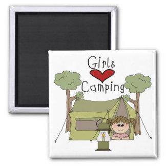 Girls Love Camping Magnet