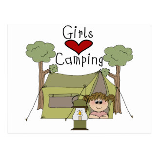 Girls Love Camping Postcard