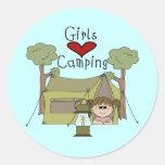 Girls Love Camping Round Sticker