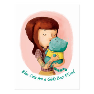 Girls love Cats. Blue Cats Postcard