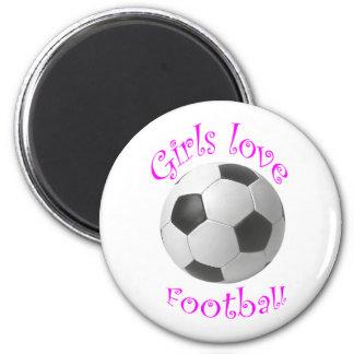 Girls love football art gifts 6 cm round magnet